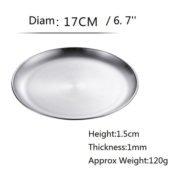 Stainless steel Dinner Plates Restaurant Gold Serving Tray Round Dessert Cake Snack Dishes Silver Storage Plate  Korean Cutlery