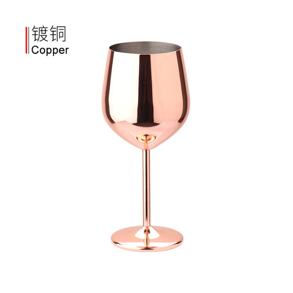 500ml capacity creativity 304 stainless steel single-layer goblet red wine glass large capacity drop metal  glass