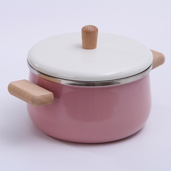Japanese enamel milk pot soup pot Baby's auxiliary food pot General purpose of induction cooker kitchen pot cookware set