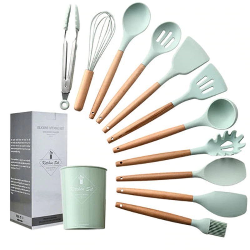 12pcs Kitchen Utensil Set High Quality Silicone Cooking Tools Set Household Wooden Handle Turner Cooking Various Kitchenware Set