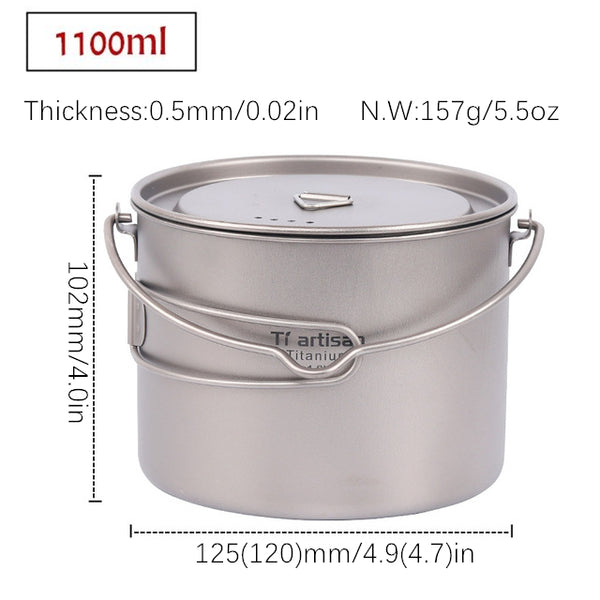 750ml/900ml/1100ml/1600ml Pure Titanium Pot with Bail Handle Outdoor Camping Ultralight Picnic Cookware with Cover