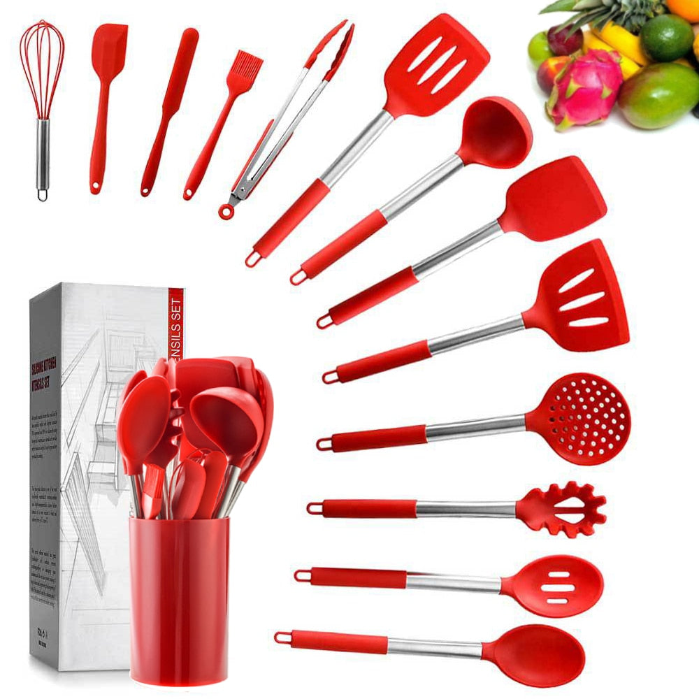 14PCS Kitchen Utensils Silicone Cookware Set Non-stick Spatula Stainless Steel Handle Food Grade Cooking Tools Set Kitchen Tools