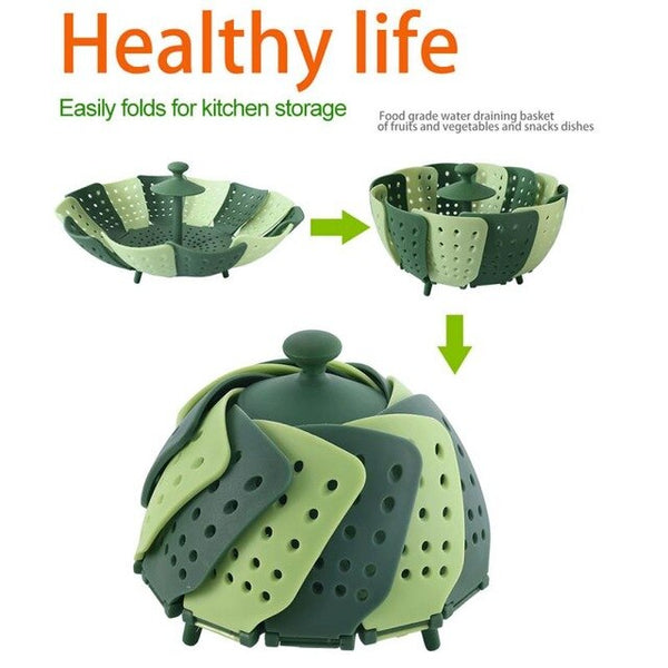 1Pcs Cookware Silicone Steaming Basket Mesh Steamer Folding Food Fruit Vegetable Vapor Cooker Dish Steamer Kitchen Accessories