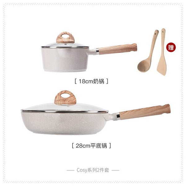 2in 1 Non-stick Cookware Set for Household Aluminum Alloy Deep Frying Pan Wok Milk Pot Combination Induction Cooker Pot