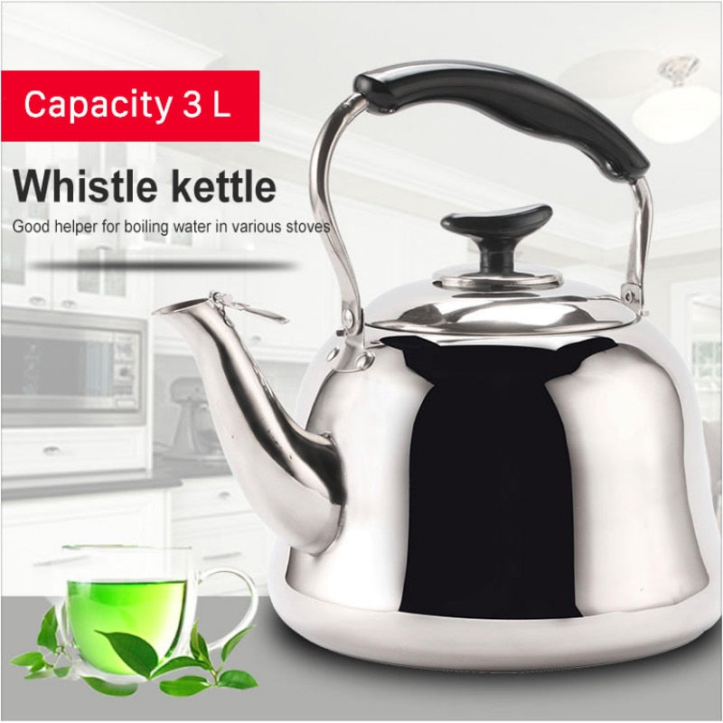 Stainless Steel Kettle Thick Food Grade Gas Whistle Pot Cooker Large Capacity Camping Whistling Teakettle Teapot N h3