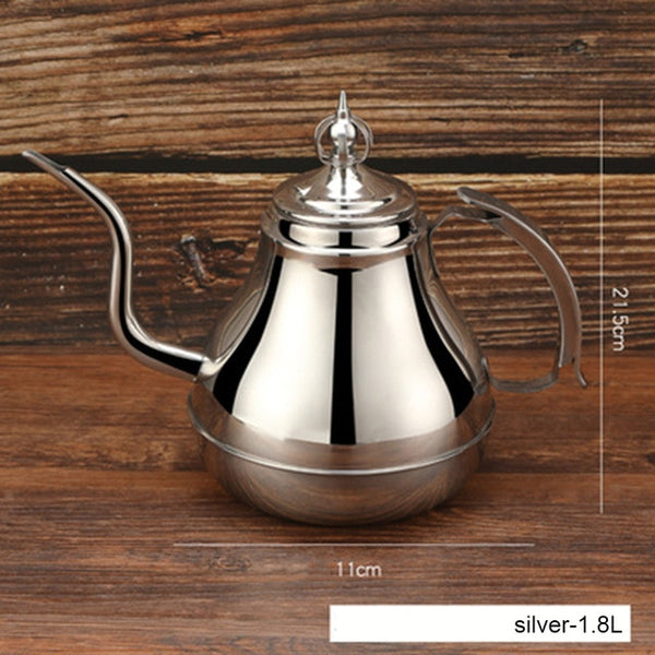 1.2/1.8L Gooseneck Kettle Stainless Steel Tea Pot with Tea Strainer Teapot Hotel Coffee Pot Induction Cooker Kettle Teaware Sets