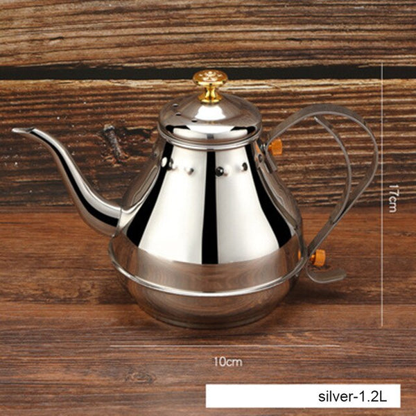 Coffee Maker 1.2L/1.8L Stainless Steel Teapot Milk Coffee Kettle Pot with Infuser Filter Coffee Pot Kitchen Tool Real package