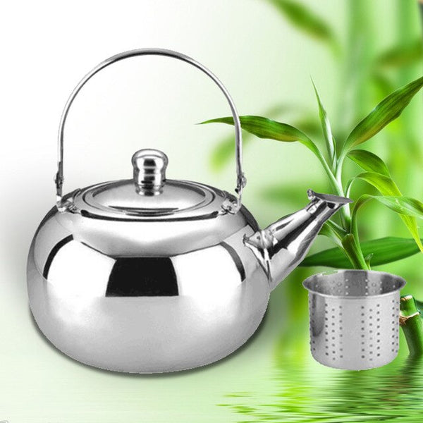 Teapot Large Capacity Restaurant Coffee Maker Hotel Induction Cooker Stainless Steel Kettle Safe Durable Ball Shape With Filter