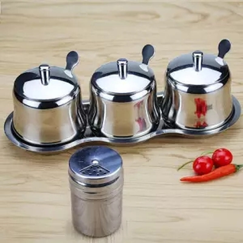 Stainless Steel Seasoning Box Seasoning Home Seasoning Jar Bottle MSG Seasoning Box Salt Pot Kitchen Supplies Spice Container