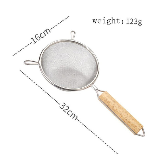 5 Size Creative Kitchen Colander Strainer Stainless Steel Binaural Filter Wooden Handle Colander Fried Spoon Kichen Accessories