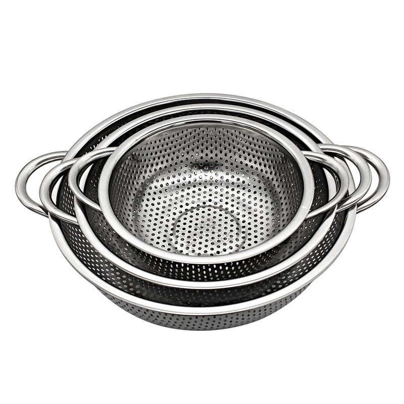 3 Pieces Stainless Steel Colander Kitchen Strainer with Handles