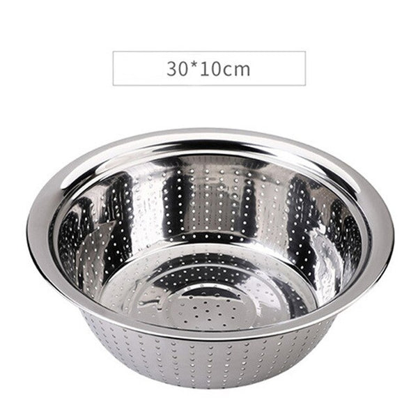 Stainless Steel Sinks Rice Bowls Fruit Colanders Household Round Kitchen Washing Rice Sieve Drain Bowl Living Room Drain Basket