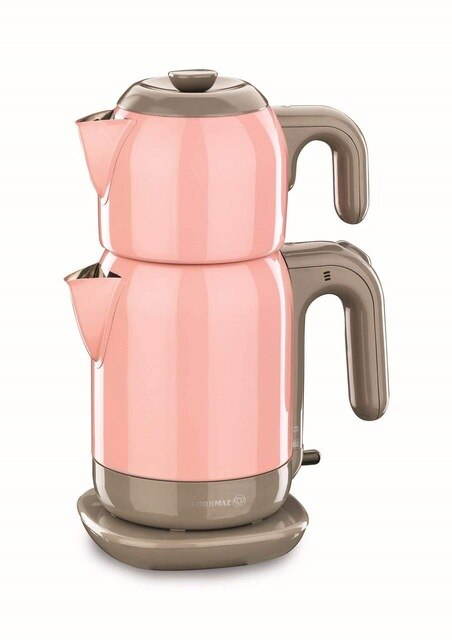 Korkmaz A369-02 Pink Steel Tea Machine Turkish Electric Teapot, Tea Kettle Machine Maker, Samovari Turkish Tea Maker, Tea Urn