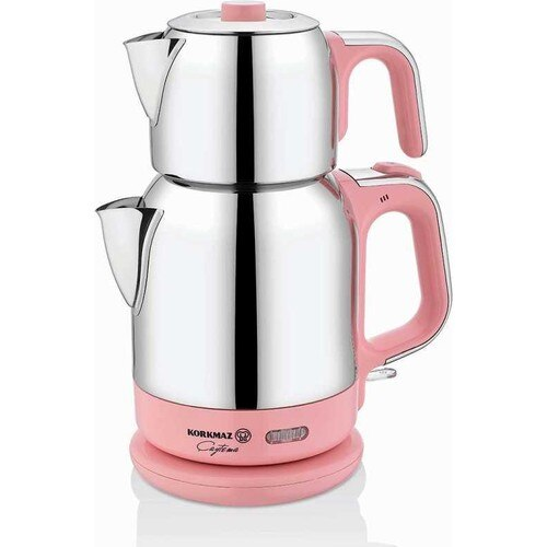 Korkmaz A331-04 Pink Steel Tea Machine Turkish Electric Teapot, Tea Kettle Machine Maker, Samovari Turkish Tea Maker, Tea Urn