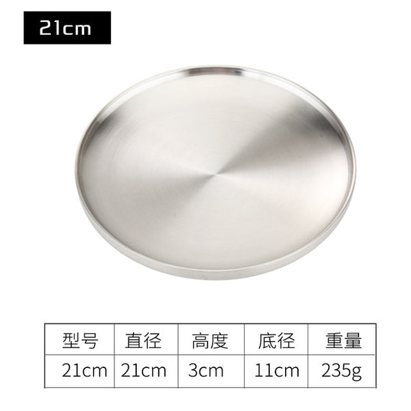 304 Stainless Steel Plate Double Insulated Plate Dinner Plate 17/19/21/23cm Barbecue Tray 1PCS