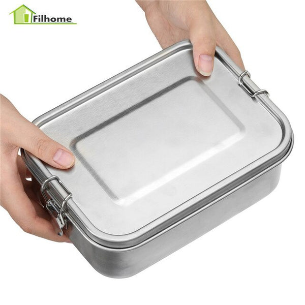 Filhome Stainless Steel Rectangular School Lunch Box School Tiffin Picnic Food Storage Container Leakproof Metal Foods Box