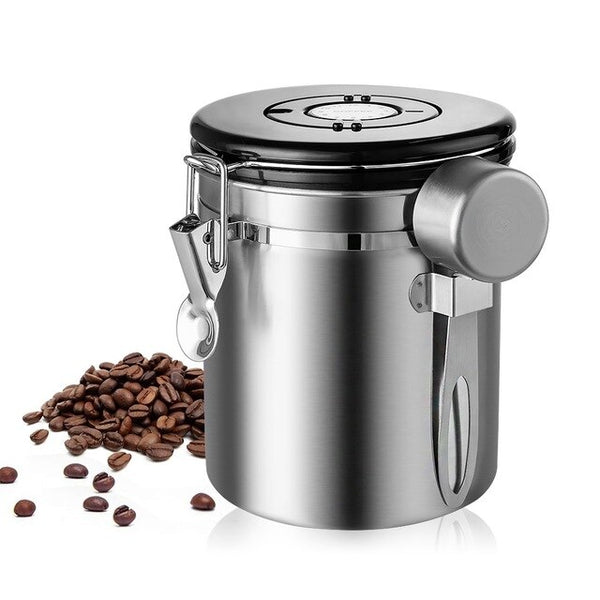 1.5L Stainless Steel Airtight Coffee Container Storage Canister Set Coffee Canister With Scoop For Coffee Beans Tea