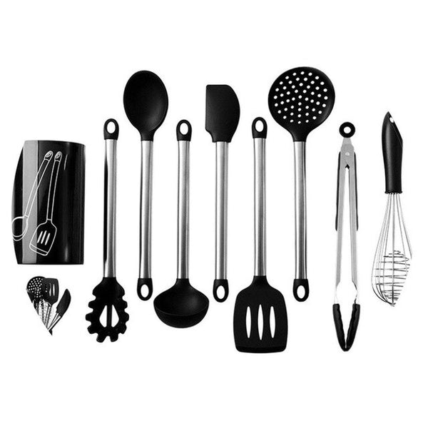 9PCS Silicone Kitchenware Cooking Spoon Soup Ladle-Egg Spatula Turner Kitchen Tools Cooking Utensil Set Dinnerware Tools