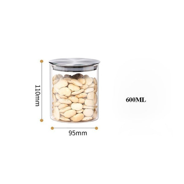 Glass Food Storage Containers with Metal Lids Transparent Kitchen Canisters Big and Small Airtight Food Jar for Pantry