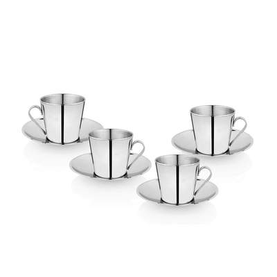 4 PCS Double Wall Cup and Saucer - V SHAPE