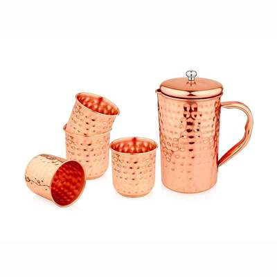 Tamram Copper Jug with 4 Glasses - Hammered