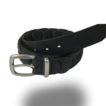 2251-Kangaroo Leather Belts - Broken Hill - BLACK