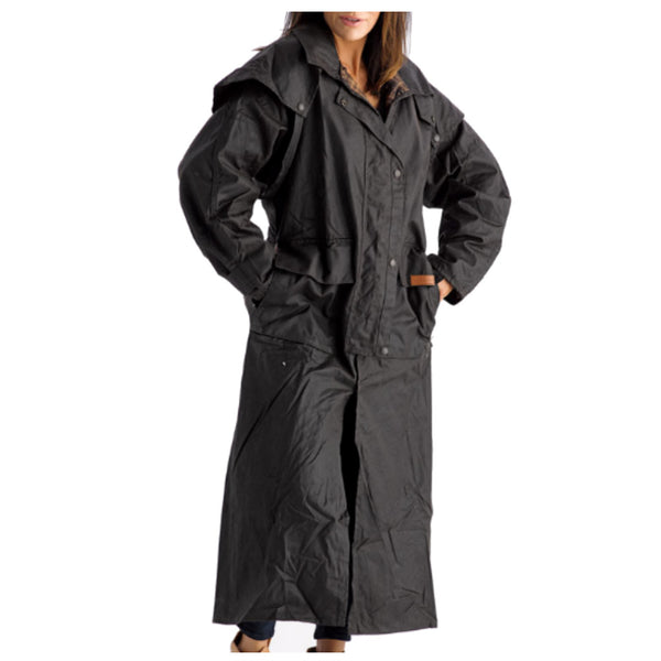Didgeridoonas Oilskin Clothing - Full Length Coat - The FRANKLIN - BROWN
