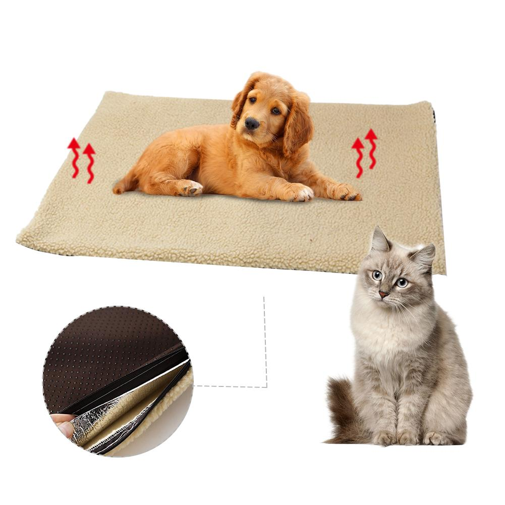 Self Heating Pet Bed Super Soft Fleece Comfortable Mat Warmer Sheepskin Puppy Dog Pad Pet-Washable Blanket For Cats Dogs 60x45CM