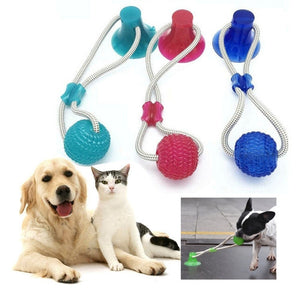 Pet Toy Molar Bite Toy Dog Tug Rope Ball Chew Toys Pet Tooth Cleaning With Suction Cup Safe Self Interactive Toy for Dog Puppy