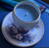 Upcycled Teacup 100% Soy Wax Candle w/ Saucer -- Fresh Bouquet scent