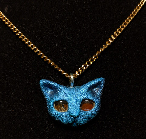 Blue Kitty Resin Necklace