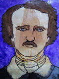 Altered Art - Edgar Allan Poe Painting/Mixed Media Homage