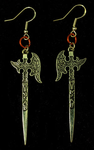 Battleaxe Earrings - Sterling Silver Hooks