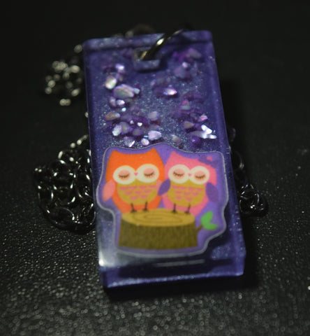 Snuggling Owls Resin Necklace