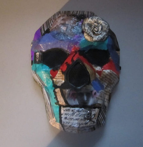 Altered Art - Homage to Edgar Allan Poe - wearable skull mask