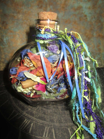 Witch Bottle / Jar - natural herbs, flowers, crystals