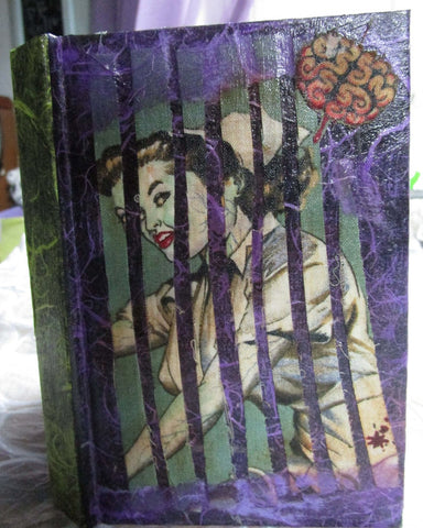 Altered Art - Mixed Media Blank Journal - Beauty & Brains Pinup