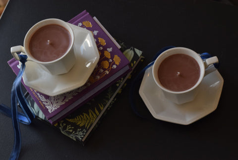Upcycled Hot Chocolate Soy Wax Teacup & Saucer Candle