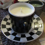 Upcycled Soy Candle in a Tea Cup & Saucer - Cherry Almond Scent