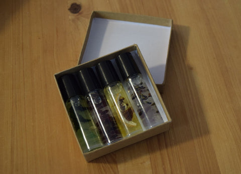 Essential Oil Roll-On Perfumes Infused w/ flora & crystals - Rose, Peppermint, Lemon or Lavender