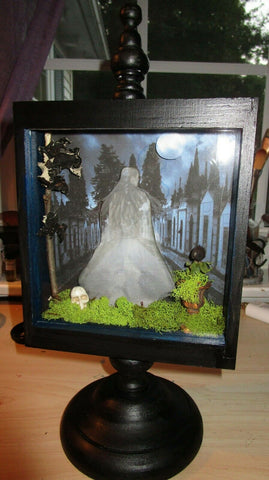 Altered Art Shadowbox - Seeking Ghosts in the Graveyard OOAK
