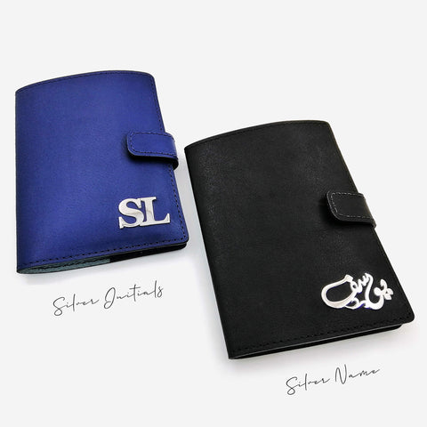 Personalized-genuine-leather-passport-holder-with-silver-arabic-calligraphy-name