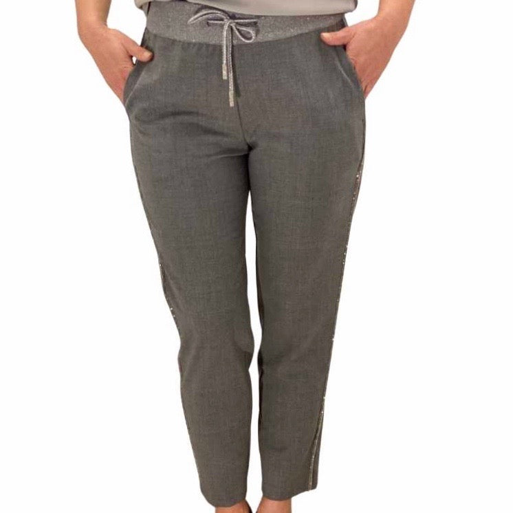 High waist tapered fit pantalon met zilveren draad strepen