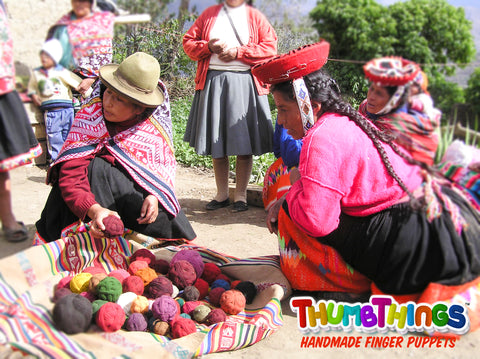knitters in Peru making finger Puppets