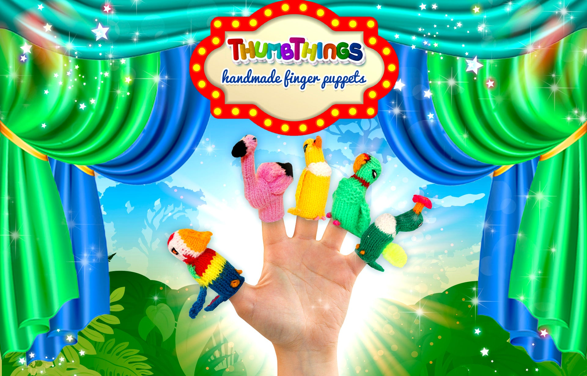 Beautiful, Exotic bird finger puppets