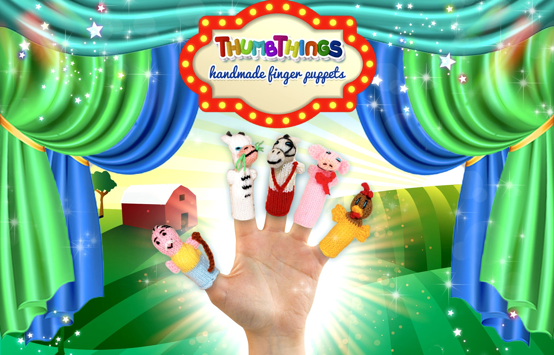 Farm animal finger puppets by ThumbThings Finger Puppets