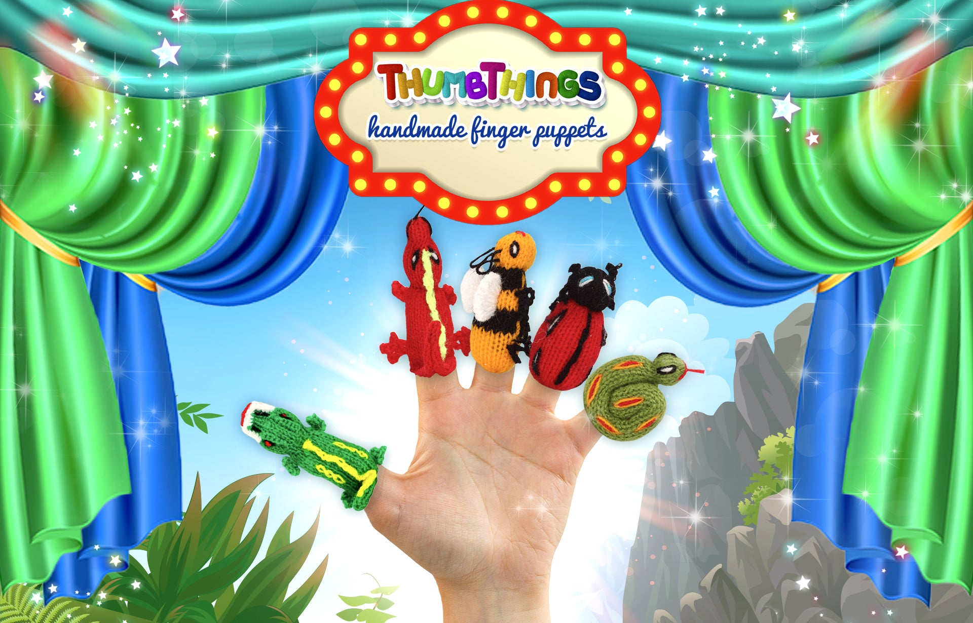 Reptile and insect finger puppets by Thumbthings Finger Puppets