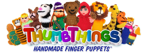 ThumbThings Handmade FInger Puppets logo and puppets