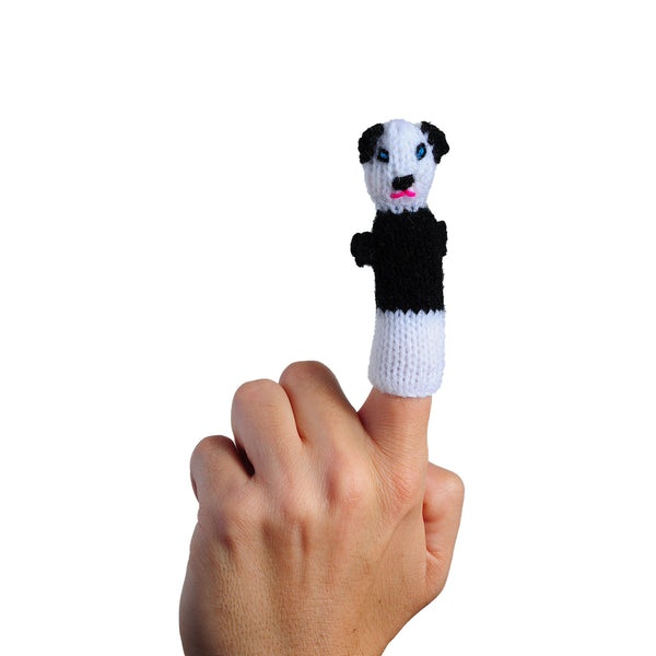 panda finger puppet on a finger