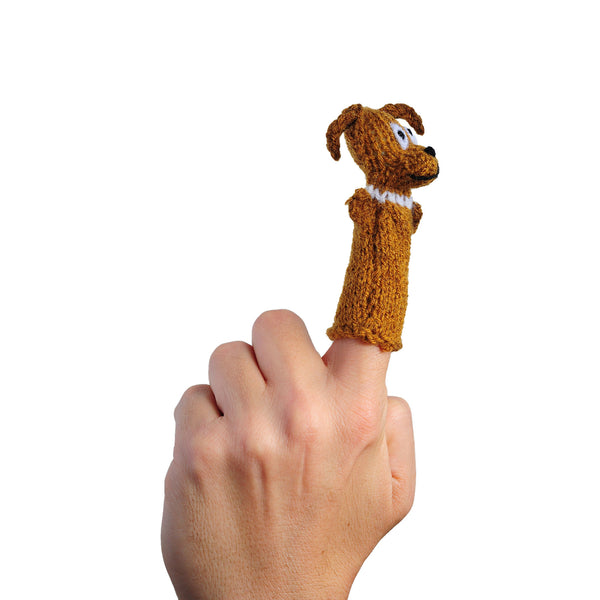 Thumbthings brown dog finger puppet on a finger